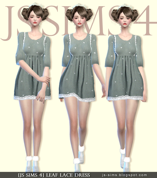 Leaf Lace Dress for Teen & Adult Females by JS Sims 4