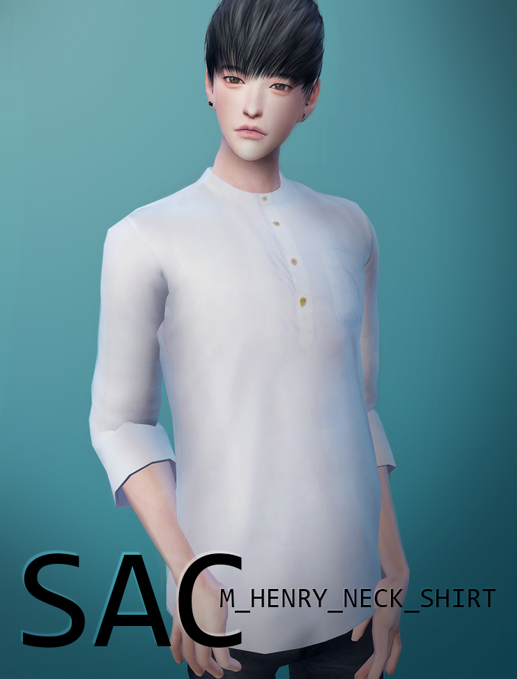M Henry Neck Shirt for Males by SAC