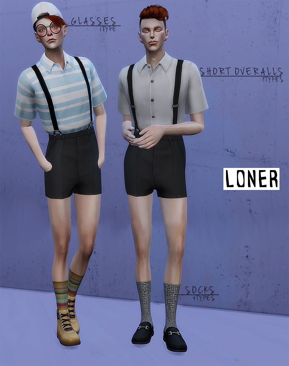 Loner short overalls / glasses / socks