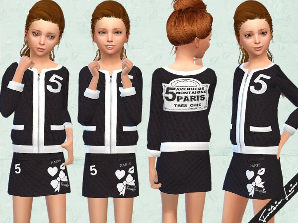 Black Quiltet Skirt and Jacket By Fashion4Sims