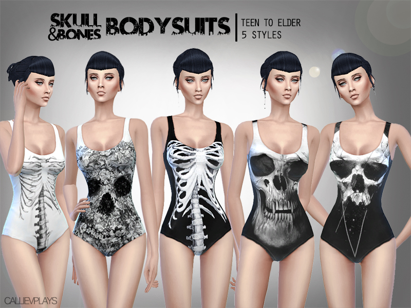 CallieV Plays  Clothing, Female : 5 skull themed bodysuits