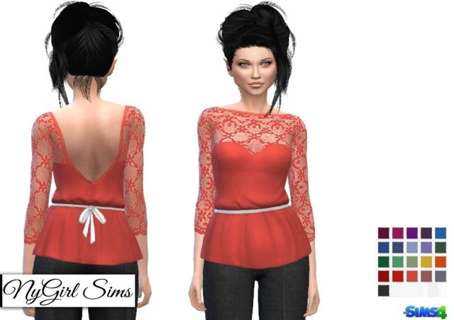 Lace Embellished Peplum Tee by NyGirl