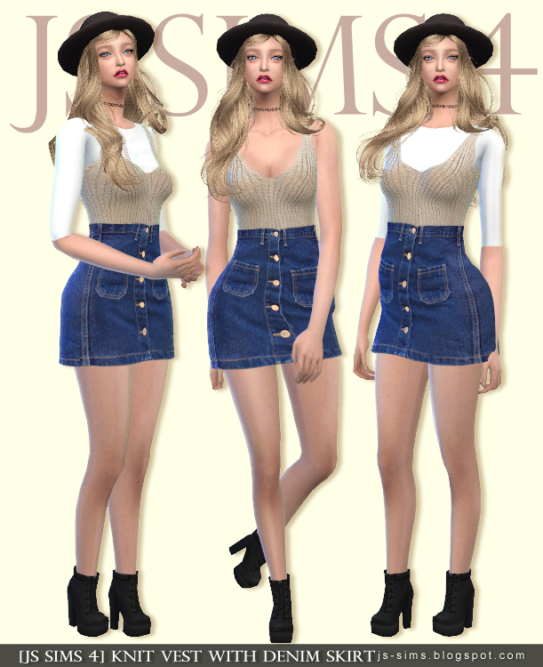 Knit Vest with Denim Skirt for Teen & Adult Females by JS Sims 4