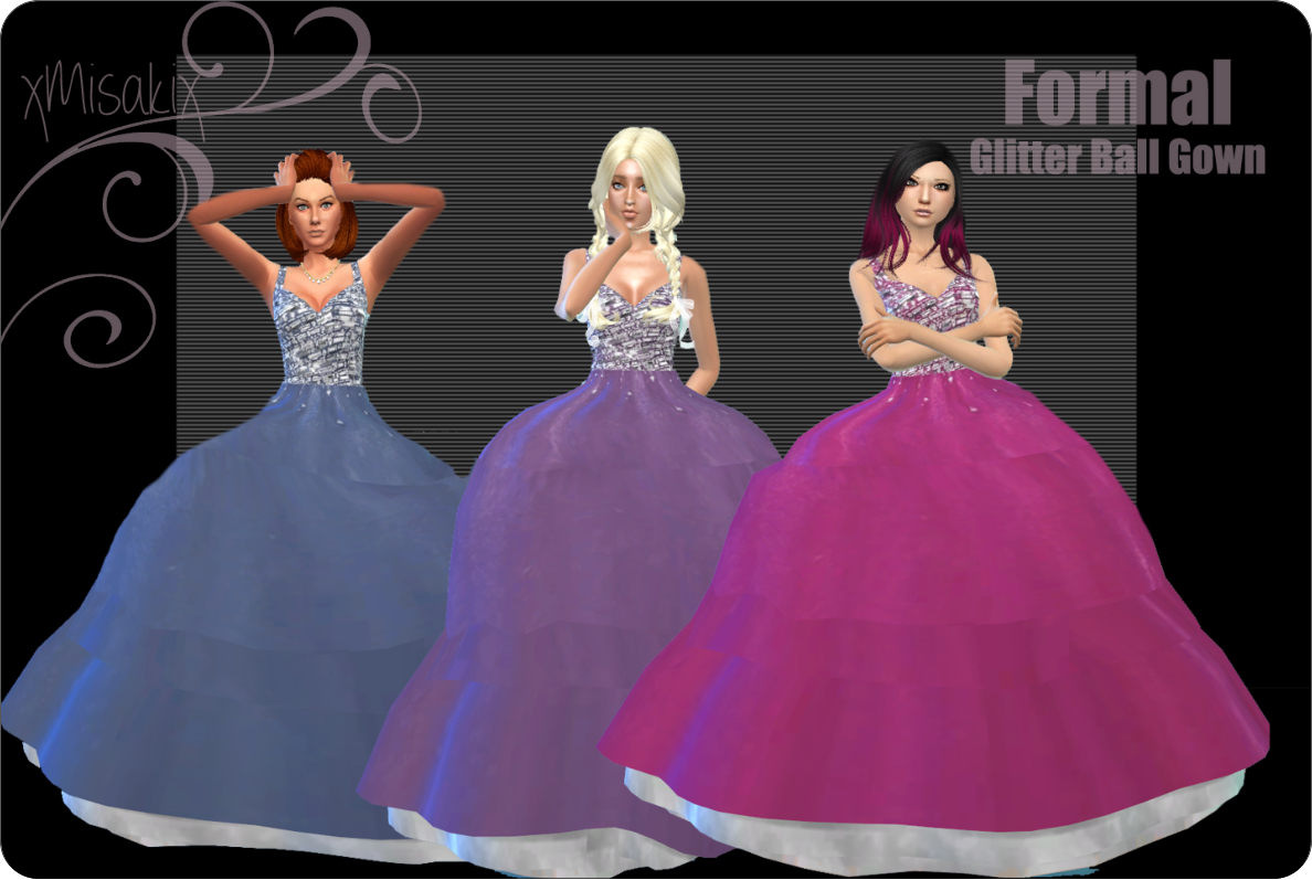 Glitter Ball Gowns in 3 Colors for Teen - Elder Females by xMisakix