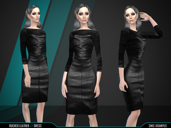 Ruched Leather Dresss by SIms4Krampus