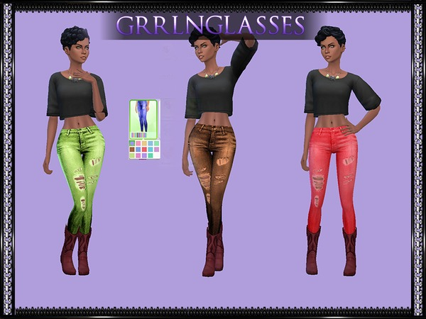 Neon Ripped Jeans by grrlnglasses