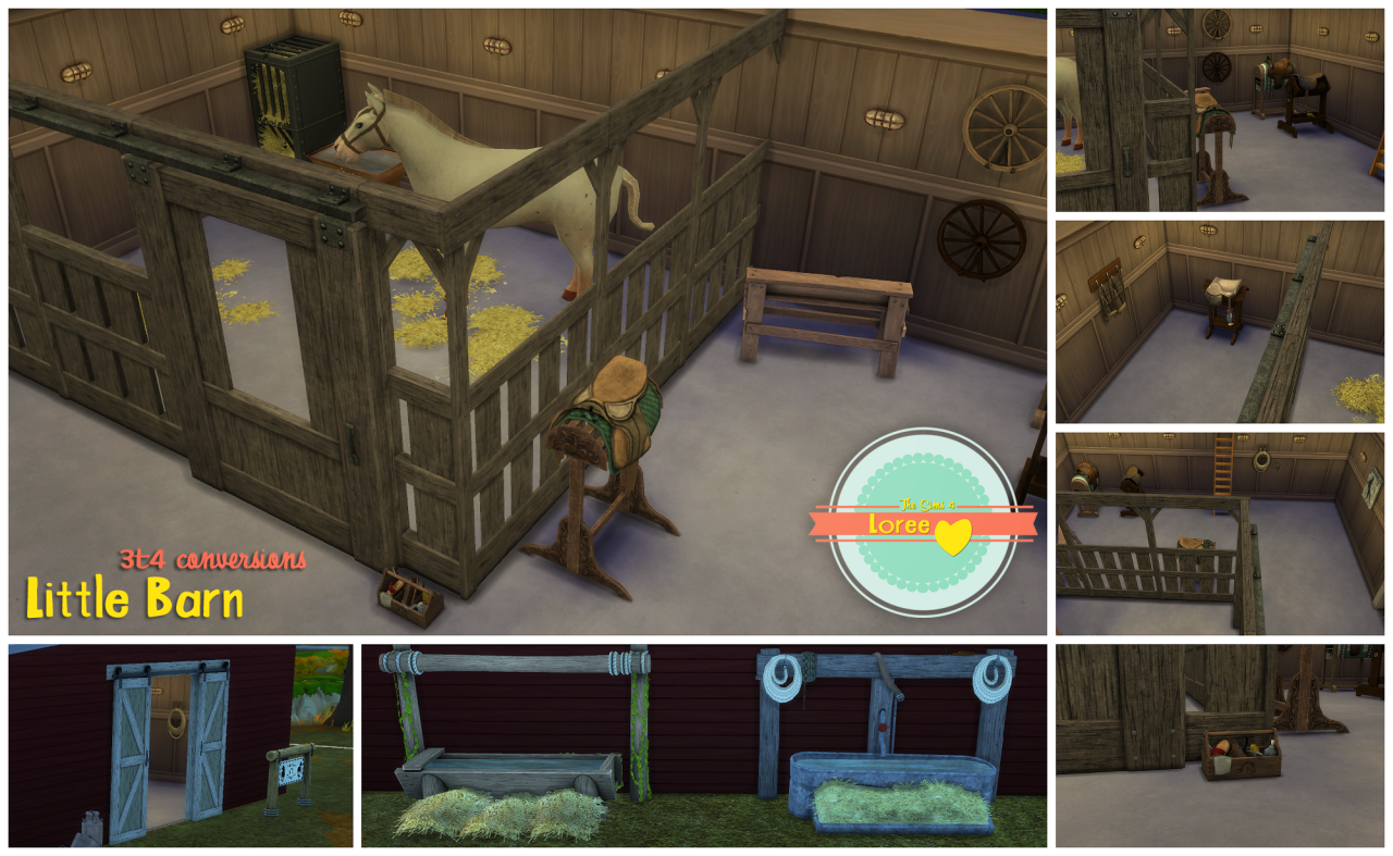 TS3 Pets Horse Stall and Decor Conversions by Loree