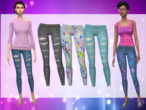 Patterned Ripped Skinny Jeans by wjewerica