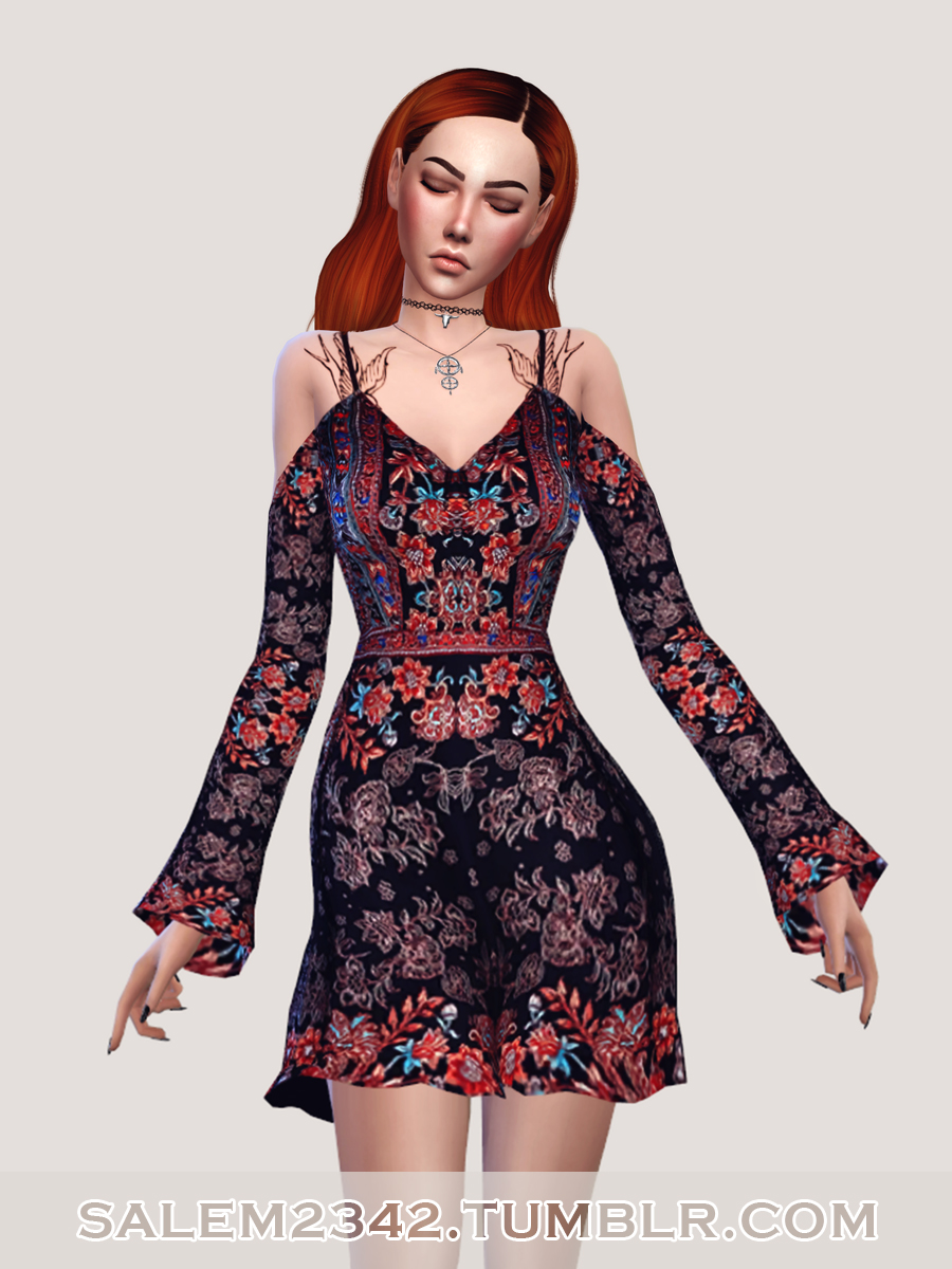 Cold Shoulder Swing Dress by Salem2342