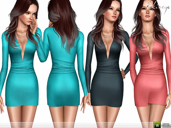 Deep V-Neck Dress by ekinege