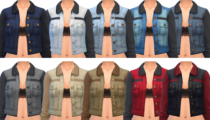 Accessory Denim Jacket in 10 Colors for Females by SimBlob