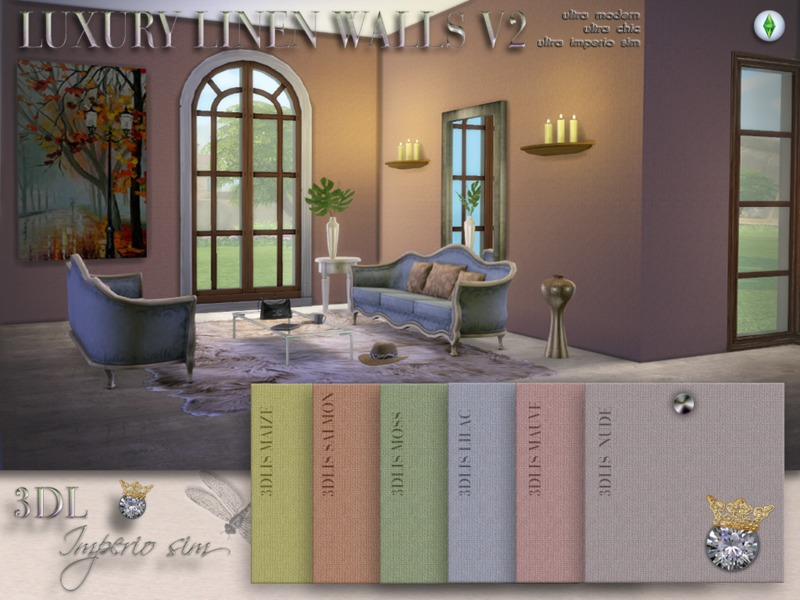 3DL Imperio Sims Luxury Linen Walls v2  BY eddielle