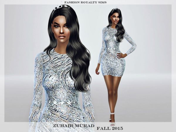 Zuhair Murad Fall 2015 - Glitter Light Blue Dress by FashionRoyaltySims