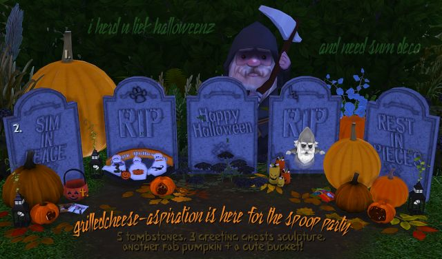 TS2 & TS3 Halloween Tombstones and More Conversions by GrilledCheeseAspiration
