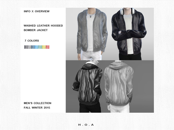 [H.O.A]LEATHER HOODED BOMBER JACKET 7 COLORS by Syrenahoa