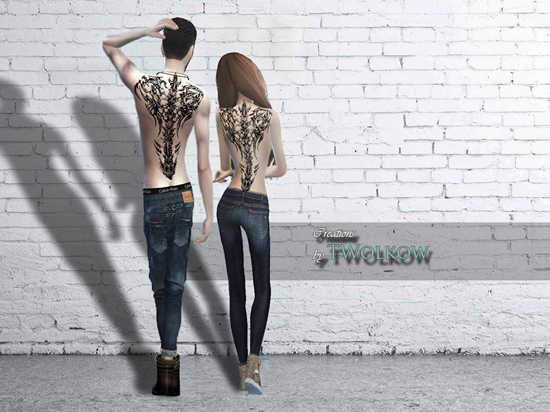 Skeleton Back Tattoo for Males & Females by TwolkowTs