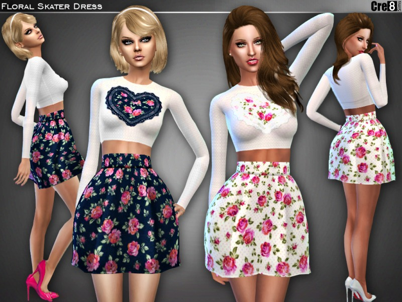 Floral Heart Skater Dress BY Cre8Sims