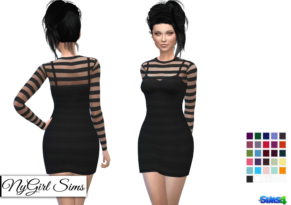 Long Sleeve Striped Mini Dress in 27 Colors by NyGirl