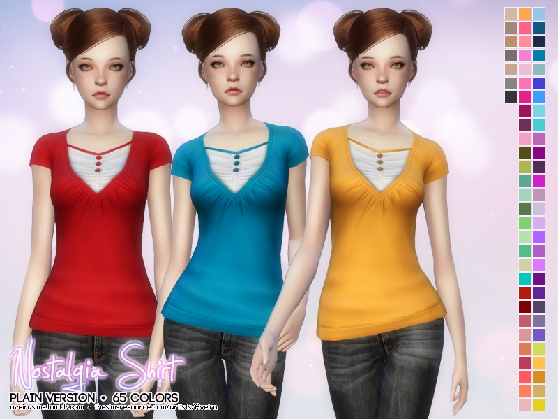 Nostalgia Shirt in 65 Colors for Teen - Elder Females by Aveirasims