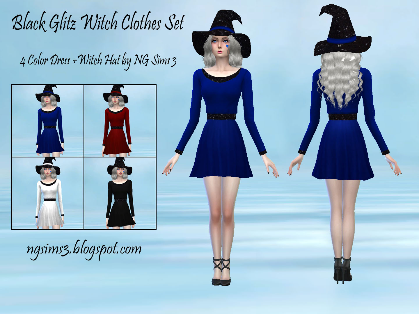 Black Glitz Witch Clothes Set = Dress + Witch Hat by NGSims
