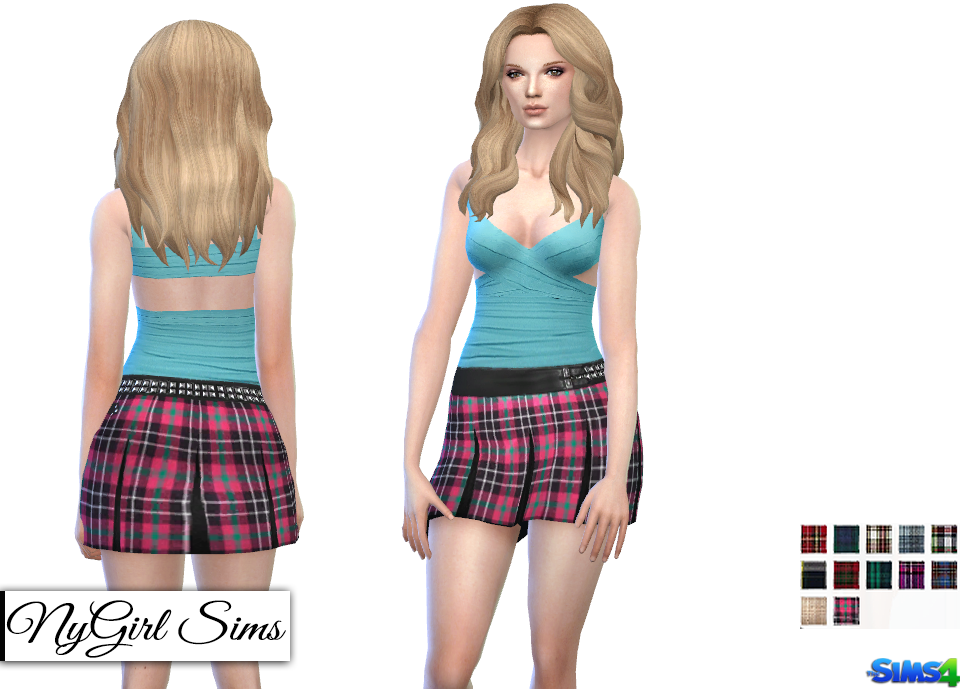 Leather and Plaid Pleated Skirt by NyGirl