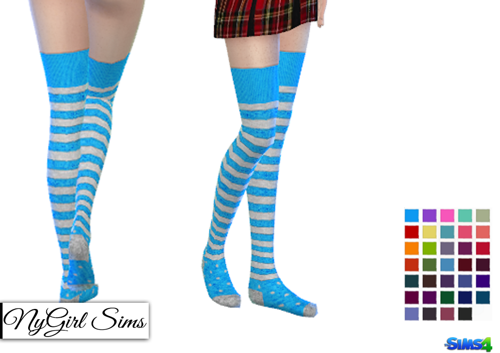 Stripes and Polka Dot Thigh High Socks by NyGirl