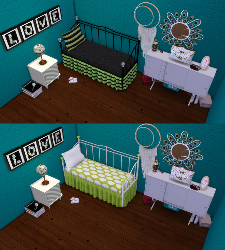 Daybed and Pillows Recolors by Leo4Sims