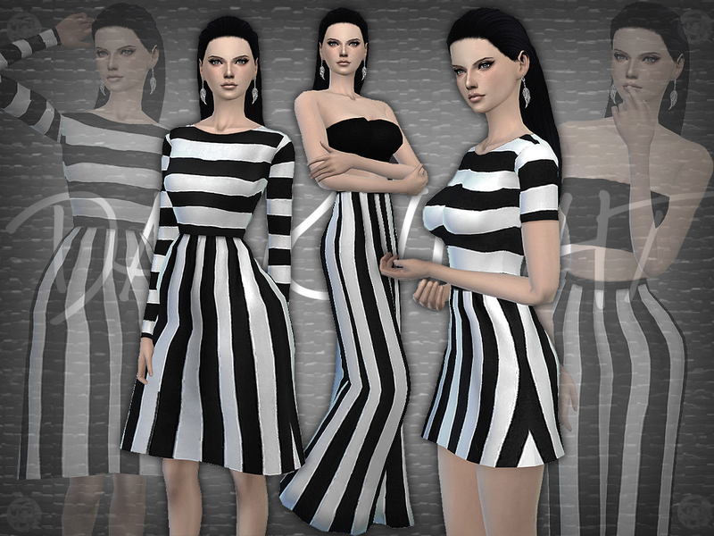 SET 09 - Black and White Striped Set BY DarkNighTt
