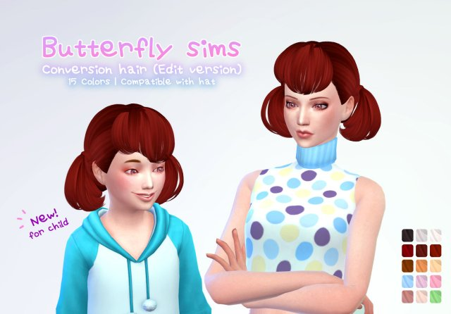 Butterfly Sims hair 119 Child от ManueaPinny