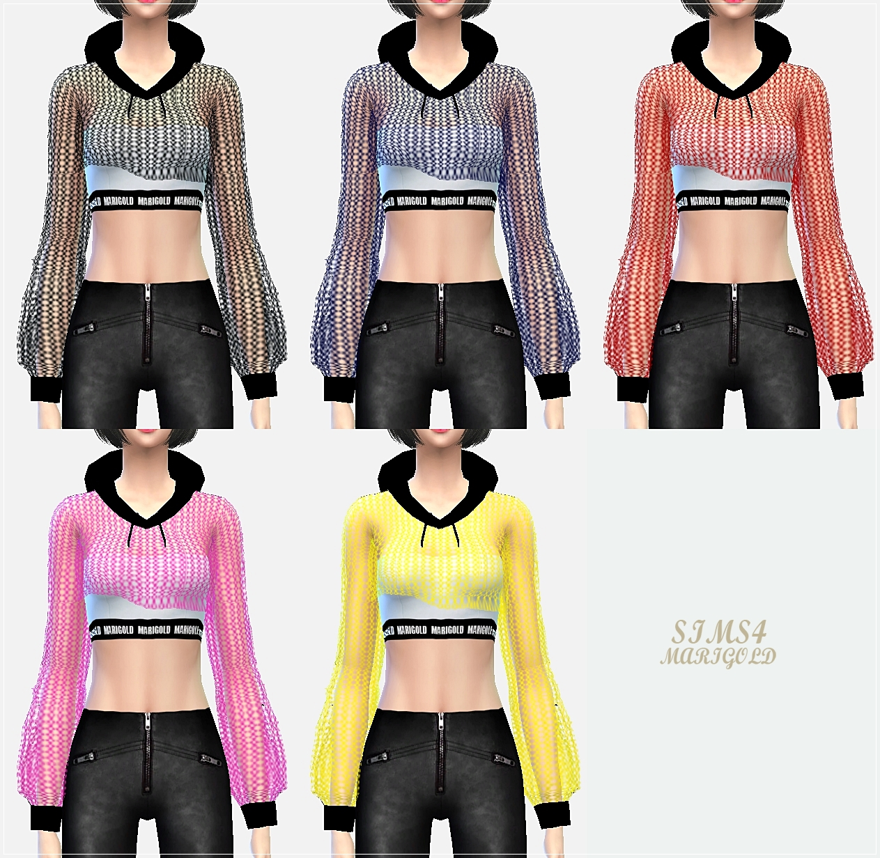 Mesh Cropped Hoodie for Females by Sims 4 Marigold