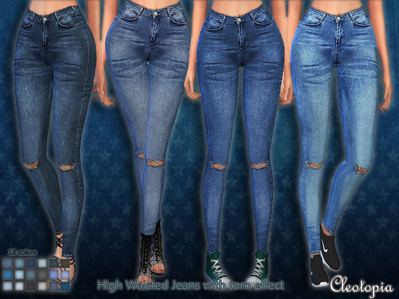Set45- High Waisted Jeans with torn effect BY Cleotopia