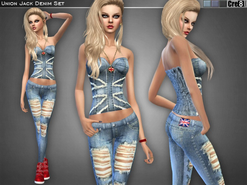 Union Jack Denim Set BY Cre8Sims
