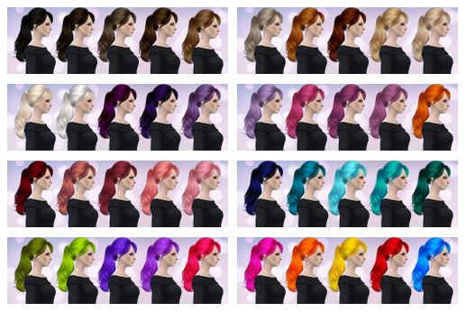 Skysims Hair Retexture in 40 Colors by Aveirasims