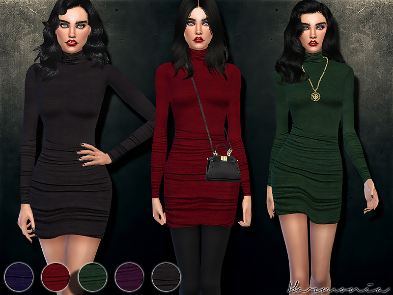 Figure-forming Turtleneck Dress  BY Harmonia