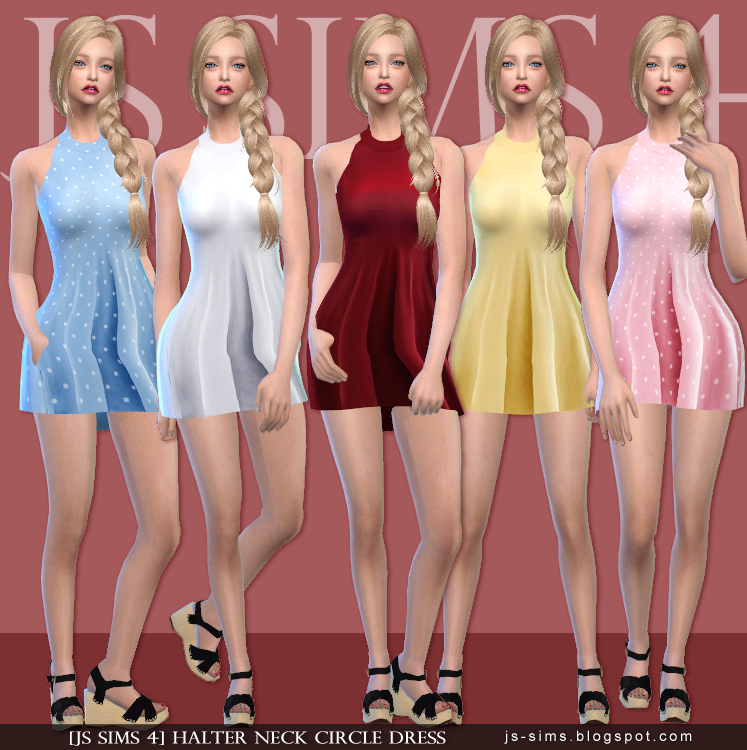 Halter Neck Circle Dress for Teen & Adult Females by JS Sims 4