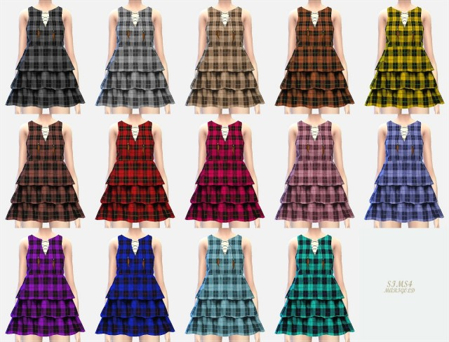 Plaid Tiered Dress by Marigold