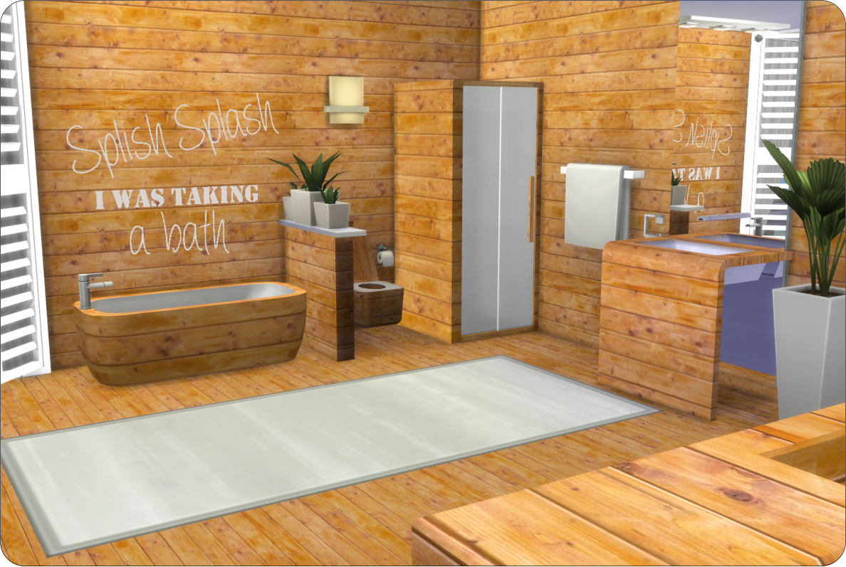 Ligneous Wood Bathroom + Wallpaper & Floors by xMisakix