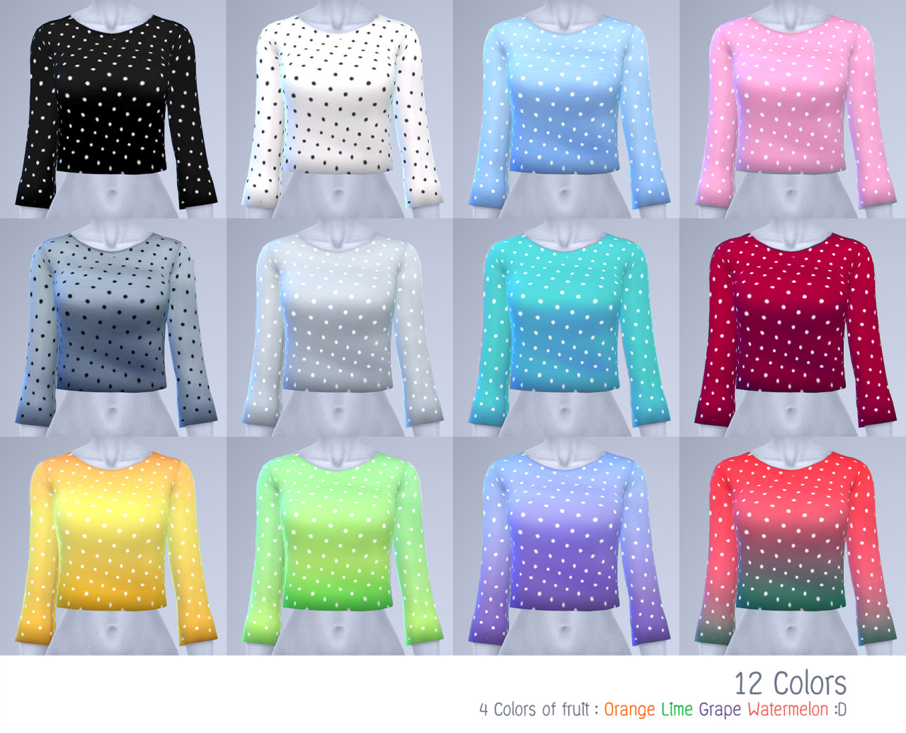 Polka Dot Crop Sweater in 12 Colors for Teen - Elder Females by Manueapinny