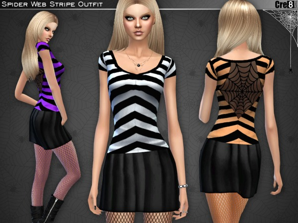 Spider Web Stripe Outfit by Cre8Sims