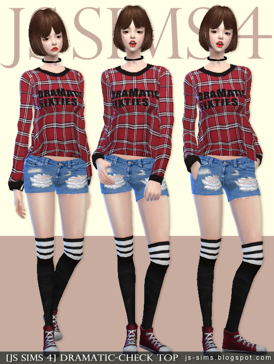 Dramatic Check Top for Females by JS Sims 4