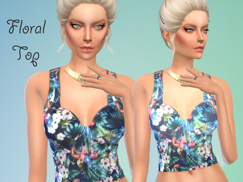 Floral_Top_for_Females BY simasims13