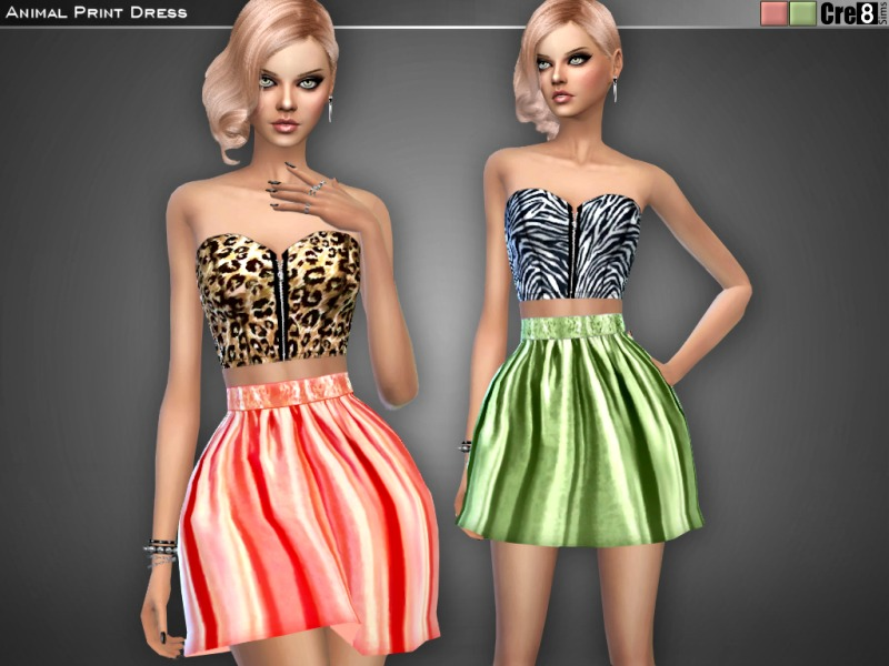 Animal Print Skater Dress  BY Cre8Sims