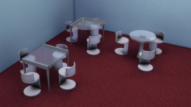 Modular L tables, round table for 3 sims and modern chair by necrodog