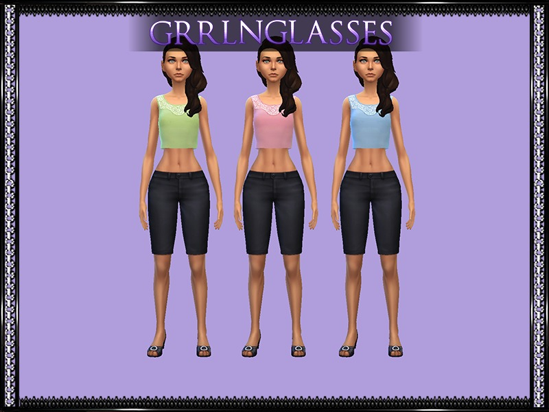 Mysimlifefou's Lace Collar Top - Recolors Requires Mesh  BY grrlnglasses