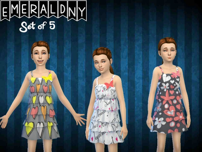 Female Butterfly Dress Set of 5  BY EmeraldNY