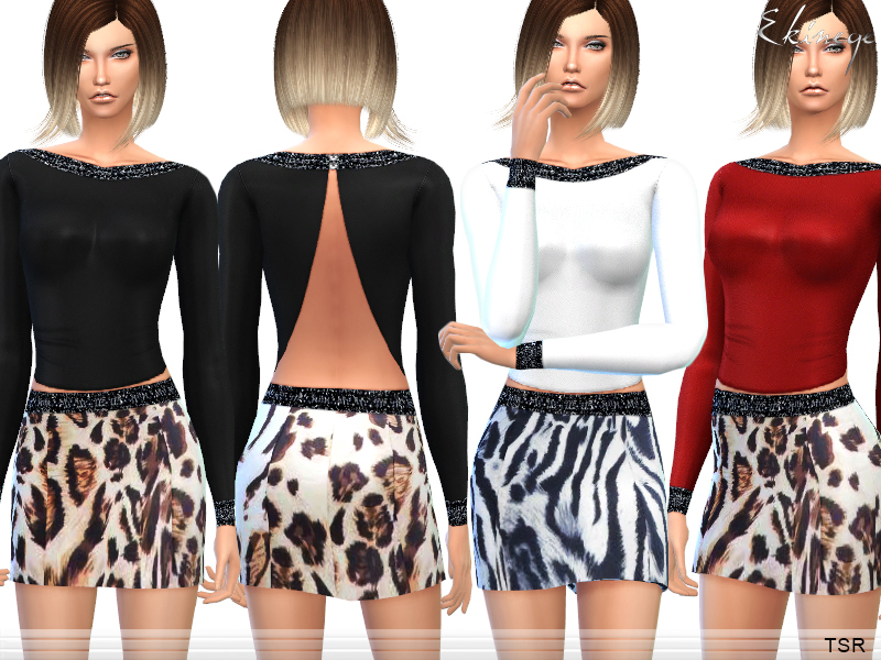 Open Back Top & Animal Print Skirt - Set10   BY ekinege