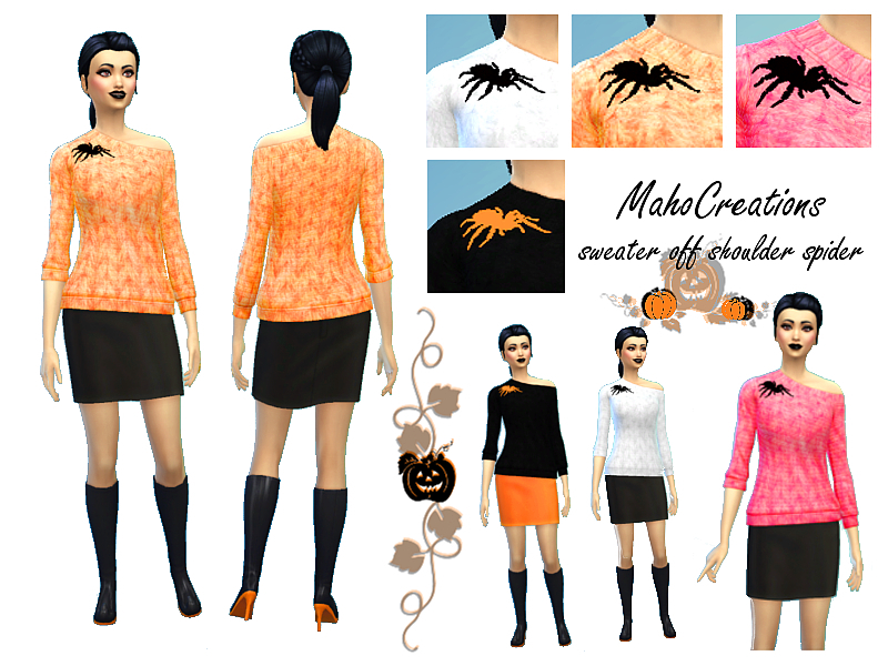 Halloween Sweater Off Shoulder 'Spider' BY MahoCreations