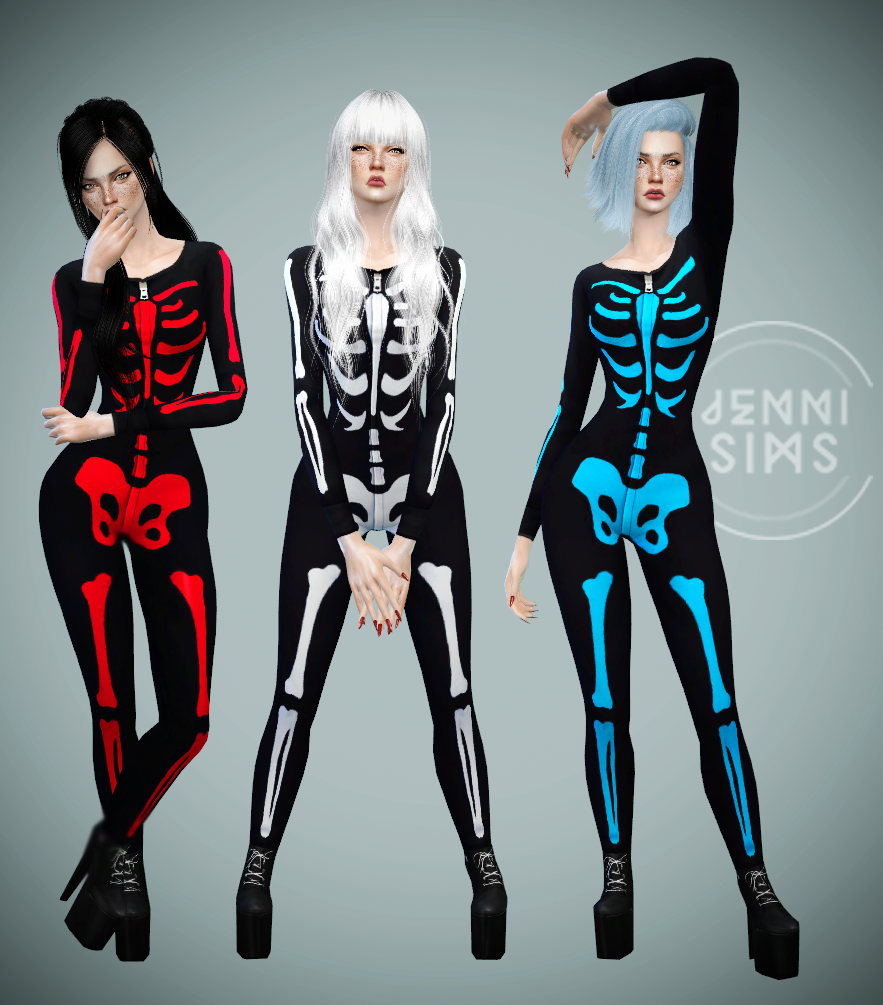Base Game Compatible Skeleton Costume for Females by JenniSims