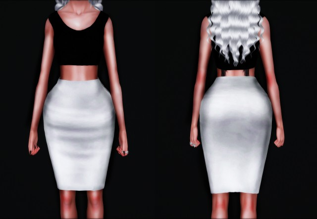 Simple Crop Top & High Waisted Pencil Skirt by Simplyiridescentsims