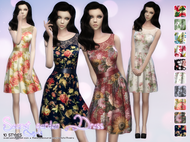 Sweet Garden Dress in 10 Style for Teen - Elder Females by AveiraSims